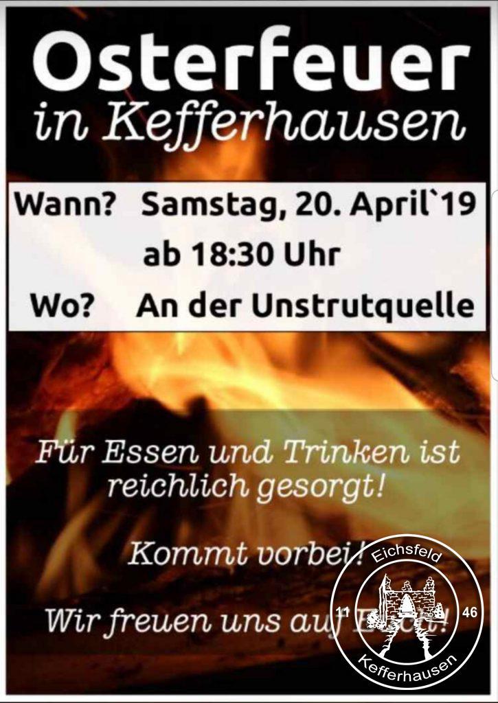 Kefferhausen Osterfeuer 2019 an der Unstrutquelle. Eine Veranstaltungen des Kirmesverein kefferhausen e.V.